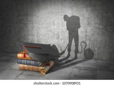 Education concept. Learning to be a slave. Book with diploma cast shadow in form of working slave. 3d illustration