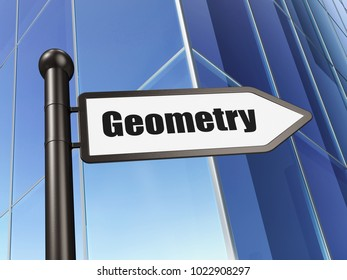 Education concept: sign Geometry on Building background, 3D rendering