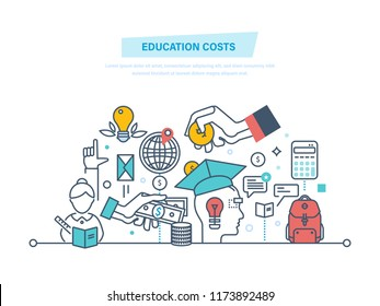 Education cost concept. Invest money in education, study cash, tuition fees, tax, pay, spending education money investment. Calculation, management. Illustration thin line design of doodles.