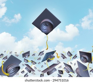Education excellence and higher learning success with graduation hats thrown in the air as a leading mortar board higher than the competition for university and college students to rise above.