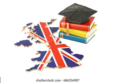 Education in Great Britain concept, 3D rendering isolated on white background