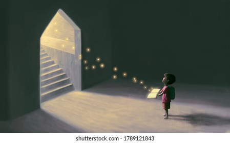 Education hope and learning concept, boy with magic book, surreal artwork, child art, fantasy painting, dream illustration