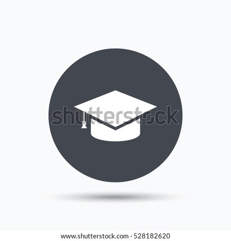 2161319aefd Education icon. Graduation cap symbol. Flat web button with icon on white  background. Gray round pressbutton with shadow. - Illustration