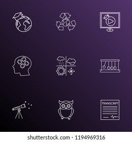 Education icons line style set with video lesson, telescope, school transcript and other wisdom elements. Isolated  illustration education icons.