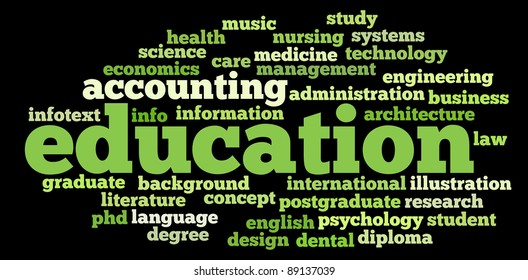 education info-text graphics and arrangement concept on black background (word clouds)