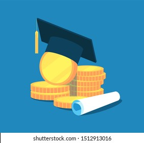 Education money. College tuition graduation, scholarship education investment. Gold coins, academic cap diploma. concept