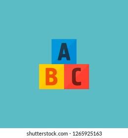 Education toys icon flat element.  illustration of education toys icon flat isolated on clean background for your web mobile app logo design.