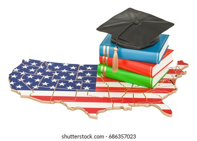 Education  in USA concept, 3D rendering isolated on white background
