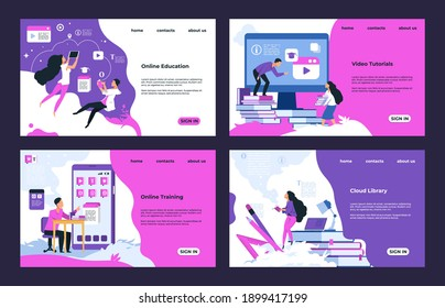 Education website. Cloud library, learning videos and tutorials, online education and testing.  training course design landing pages, illustrations template web interface learning site