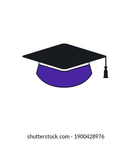An educational hat logo is made with black and blue colour on white background.