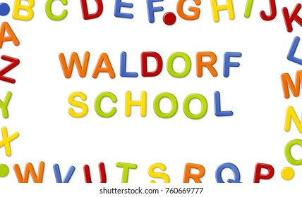 Educational Systems made out of fridge magnet letters isolated on white background: Waldorf School
