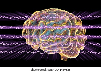 EEG Electroencephalogram, brain wave in awake state with mental activity, 3D illustration