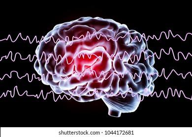 EEG Electroencephalogram, brain wave in awake state during rest, 3D illustration