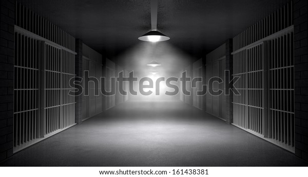 An eerie haunting corridor in a prison at night showing jail cells illuminated by various ominous lights