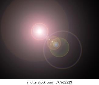 effect lens flare on black background.