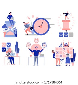 Effective time management symbols flat elements set with tasks planning training activities schedule checkpoints isolated