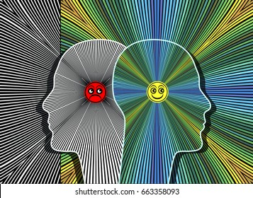 Effects of positive attitude. The power of a positive thinking charismatic person compared to a pessimistic one