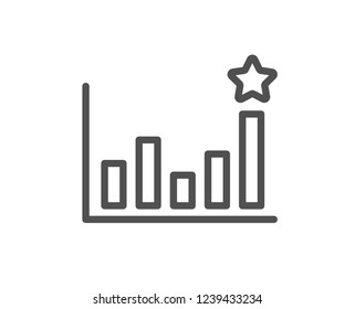 Efficacy line icon. Business chart sign. Analysis graph symbol. Quality flat web app element. Line design Efficacy icon.