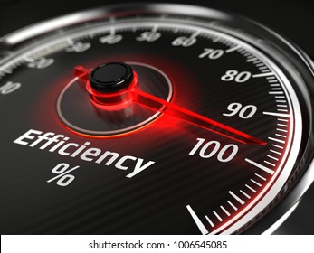 efficiency concept - efficiency level meter indicate 100 %. 3d rendering