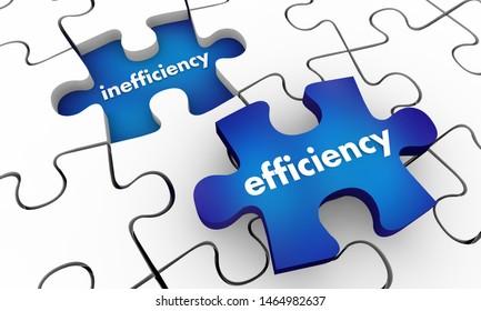 Efficiency Vs Inefficiency Puzzle Piece Improved Process 3d Illustration