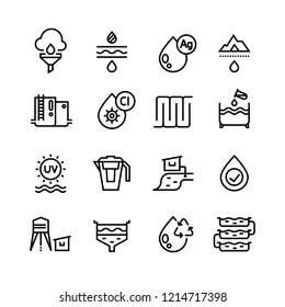 Effluent water treatment. Water purification linear icons