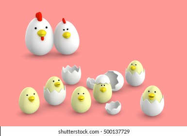 egg chicken family. 3d render
