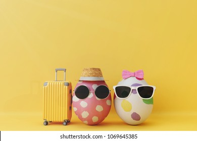 Egg couple tourist with Mock up travel. 3d rendering