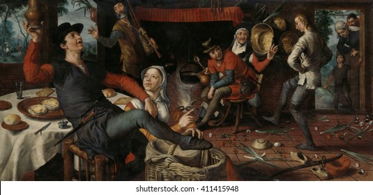 The Egg Dance, by Pieter Aertsen, 1552 , Dutch painting, oil on panel. In a brothel, a young man, while dancing, rolled an egg within a chalk circle _ without it breaking _ and then covered it with a