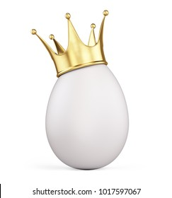 Egg with gold crown isolated on white. 3d rendering