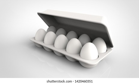 egg pack and lid 3d rendering