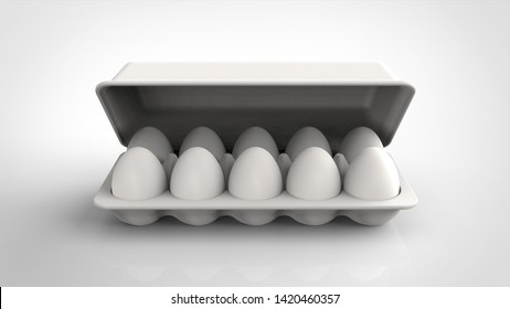 egg pack and lid front 3d rendering
