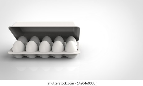 egg pack and lid front left 3d rendering