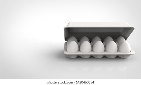 egg pack and lid front right 3d rendering