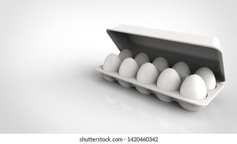 egg pack and lid right 3d rendering