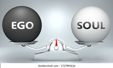 Ego and soul in balance - pictured as a scale and words Ego, soul - to symbolize desired harmony between Ego and soul in life, 3d illustration