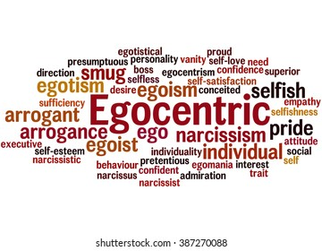 Egocentric, word cloud concept on white background.
