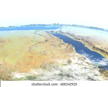 Egypt. 3D illustration with detailed planet surface. Elements of this image furnished by NASA.