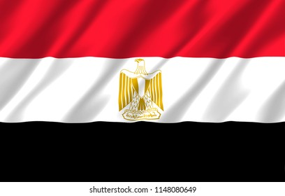 Egypt 3D waving flag illustration. Texture can be used as background.