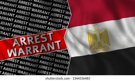 Egypt and Arrest Warrant Titles Flag Together - 3D illustration Fabric Texture