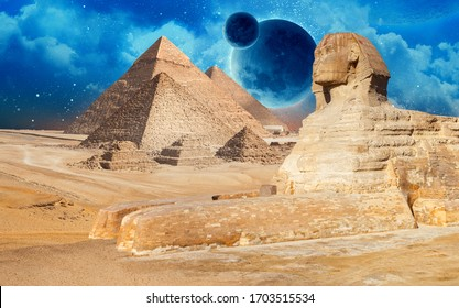 Egypt Cairo - Giza. General view of pyramids on the river Niel with 3d planet on background