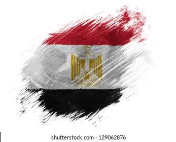 Egypt. Egyptian flag  painted with brush on white background