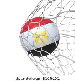 Egypt Egyptian flag soccer ball inside the net, in a net. Isolated on white background. 3D Rendering, Illustration.