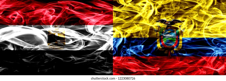 Egypt, Egyptian vs Ecuador, Ecuadorian smoke flags placed side by side. Thick abstract colored silky smoke flags