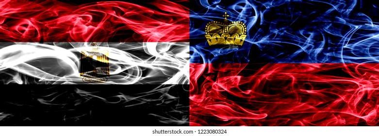 Egypt, Egyptian vs Liechtenstein, Liechtensteins smoke flags placed side by side. Thick abstract colored silky smoke flags