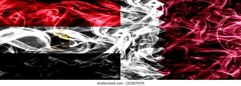Egypt, Egyptian vs Qatar, Qatari smoke flags placed side by side. Thick abstract colored silky smoke flags