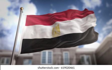 Egypt Flag 3D Rendering on Blue Sky Building Background