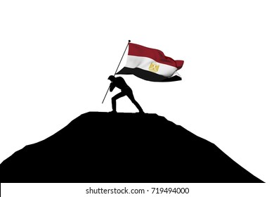 Egypt flag being pushed into mountain top by a male silhouette. 3D Rendering
