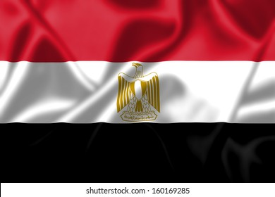 Egypt flag blowing in the wind. Background texture.