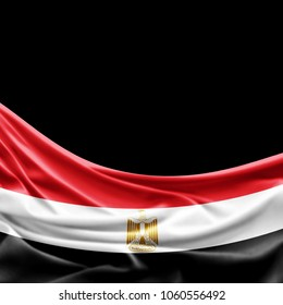 Egypt flag of silk with copyspace for your text or images and black background -3D illustration