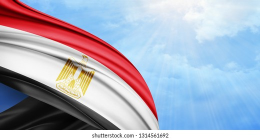 Egypt flag of silk with copyspace for your text or images and sky background-3D illustration